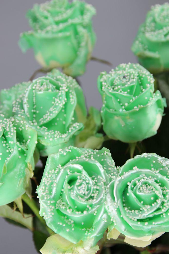 rosas enceradas verdes